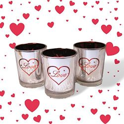 Love Candles – Set of 3 Silver Metallic Votive Candle Holders – 3 White Flameless Te ...