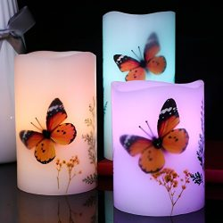 Set of 3 Flameless LED Candles Color Changing Flicker,Light Mode Option Real Handmade Butterflie ...