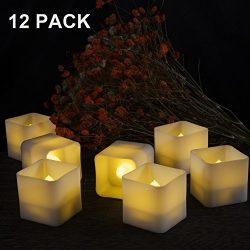 12 Pack Square Led Tealight Candles, Amagic Small Flameless Flickering Tea Lights with Bright Wa ...