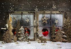 Yelewen 7x5ft Glitters Wood Christmas Trees Stars Candles & Vintage Window Thin Vinyl Custom ...