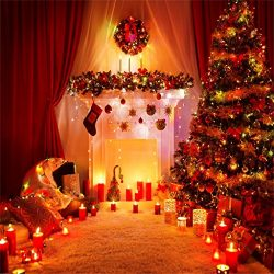AOFOTO 6x6ft Christmas Tree Backdrop Fireplace Photography Background Xmas Wreath Candles Garlan ...