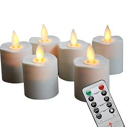 Set of 6 Battery Operated Flameless Votive Candles with Remote and Timer , 1.5 X 2.4in, 6- CR245 ...