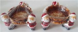 NEW Set Of 2 SANTA CLAUS Ceramic CHRISTMAS CANDLE HOLDERS