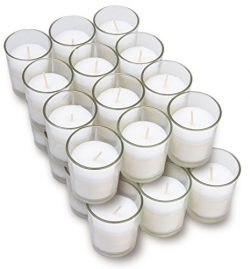 Harmonic Blossom Glass Votives 24 Pack – Premium White Unscented Votive Candles in Clear E ...