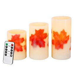 Flameless Candles with Remote Control&Timer Fall Maple Leaf Battery Operated Candles Flicker ...