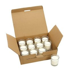 Hosley Pack of 12 Unscented Clear Glass Wax Filled Votive Candles, Up to 12 Hour Burn Time, Hand ...