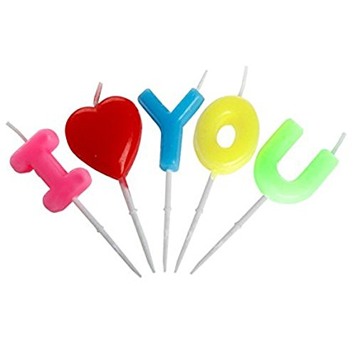 I Love You Cake Decoration Candles Letter Shaped Candles for Wedding Birthday Anniversary Party  ...