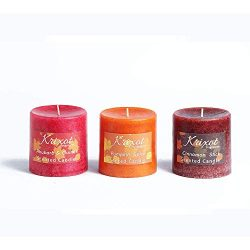 Scented Pillar Candles Set of 3 fragrances | Rhubarb and Quince, Pumpkin Spice and Cinnamon Stic ...