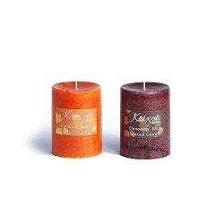 Scented Pillar Candles Set of 2 fragrances | Pumpkin Spice and Cinnamon Sticks in Mottled Design ...