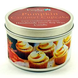 Pumpkin Caramel Cupcake, Fall Scented Soy Candle Tin (6 oz), Autumn Candles