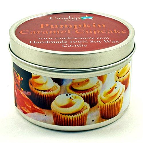 Pumpkin Caramel Cupcake, Fall Scented Soy Candle Tin (6 oz), Autumn Candles