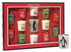 Yankee Candle Holiday Sampler Votive Candle Gift Set with Sparkling Cinnamon, Balsam & Cedar ...