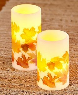 The Lakeside Collection Set of 2 LED Leaf Candles –