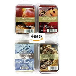 4 Pack Fall Candle Wax Melt Set Holiday Scented Fragrances 2.5 oz Tart Packs Apples & Oak Le ...