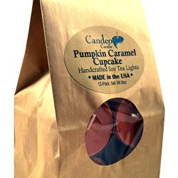 Pumpkin Caramel Cupcake, Fall Scented Soy Tealights, 12 Pack Clear Cup Candles, Autumn Scented
