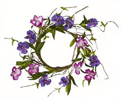 Worth Imports Purple Flower W/Leaves Candle Ring