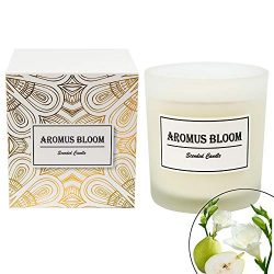 AromusBloom Scented Candle Gift with Natural Essential Oils, 100% Eco-Friendly Soy Wax Aromather ...