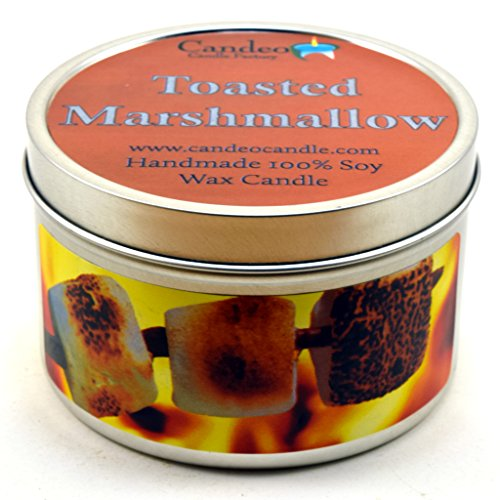 Toasted Marshmallow, Fall Scented Soy Candle Tin (6 oz), Autumn Candles