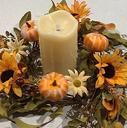 Harvest Hollows Fall Candle Ring Handmade Small Autumn Wreaths Artificial Sunflowers Daisies Pum ...
