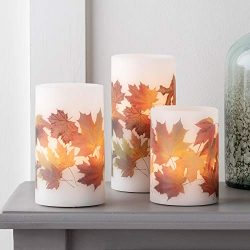 Lights4fun, Inc. Set of 3 Fall Leaf Wax Battery Operated Flameless LED Thanksgiving Pillar Candl ...