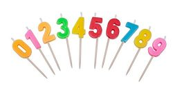 Willcan Multicolor happy birthday candles, 0-9 molded number candles for party time special day  ...