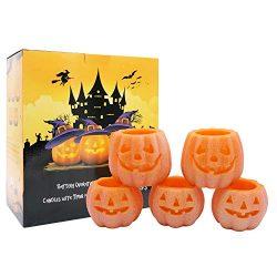 DDXJ Jack O' Lantern Lights, Pumpkin Real Wax Halloween Candles with 6H Timer – Battery Op ...