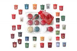 Yankee Candle Fall and Winter Votive Samplers in Storage Container Gift Box Plus Bonus Organza S ...