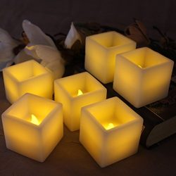 Square Flameless Candles – Set of 6 2″ L x 2″ W, Ivory Wax and Amber Yellow Fl ...