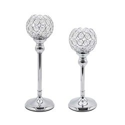 Joynest Crystal Candle Holders Coffee Table Decorative Centerpiece Candlesticks Set Dining Table ...