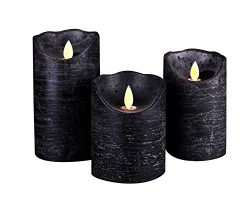 Kitch Aroma Marble Black flameless candles 3 x 4/5/6inch Battery Operated LED Pillar Candles wit ...