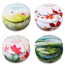 Ahyiyou Scented Candles, 100% Soy Wax Tin Candles, Natural Fragrance Candles Stress Relief Aroma ...