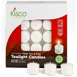 Kisco Candles PACK Of 50 Clear Cup White Unscented Tea Light Candles Aprox 8 Hour Burning Time