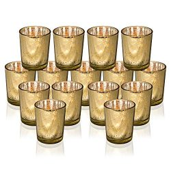 Rixon Grove Stunning Gold Mercury Votive Candle Holders – Set of 15 Elegant Glass Votives