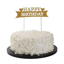 Sunny ZX Happy Birthday Cake Topper, Gold Twinkle DIY Glitter First Birthday Cupcake Topper Cake ...