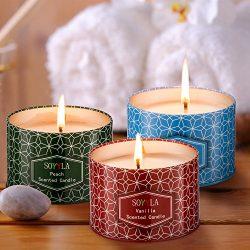 soyyla Scented Candles Soy Wax Aromatheray 8.5 Oz tinplate,Set of 3(Vanilla Lemongrass and Peach).
