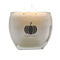 M+H Home Pumpkin CHAI Fall Scented 100% Soy Candle – Large15oz 3 Wick, Glass Tapered Squar ...