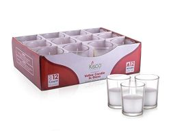 KISCO CANDLES: 12 Hour Votive Candles with Holders Clear Decorative Glass Home Decor, Beautiful  ...