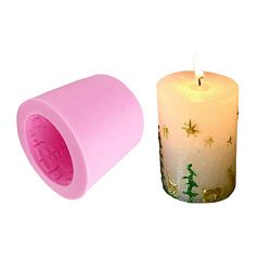 Christmas Candle Molds Silicone DIY Candle Making Supplies Moulds Round Pillar Shape with Emboss ...