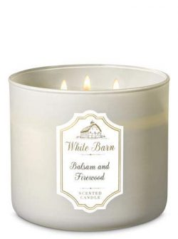 White Barn Bath & Body Works 3 Wick Candle Balsam and Firewood