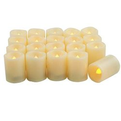 Battery Operated LED Votive Candles Realistic Flickering Flameless Tea Lights Set Bulk Electric  ...
