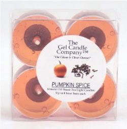 4 Pack of Pumpkin Spice Scented Gel Candle Mineral Oil Based Tea Lights hand poured in USA by Th ...
