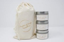 Light of Life Shop Soy Wax Candles, Highly Scented, Natural, 3 tin Travel Set, Gift, Fall Collection