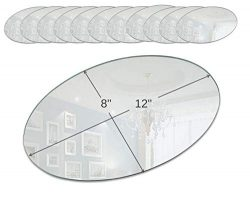 Light In the Dark Oval Mirror Tray Set – Set of 12 Oval Mirror Plates – 12 inch x 8  ...