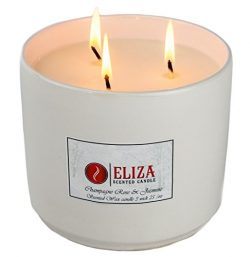 Eliza Candles, Scented Candle Champagne Rose and Jasmine, Soy Wax Candles 3-Wick 25 oz