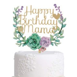 Grature Happy Birthday Cake Topper| Mama Mother, Mom Birthday Letters| Gold and Floral Wreath fo ...