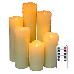 DDXJ Remote Candles Dripping Wax Flameless Flickering Candles Set of 6, 2.2 inch Diameter, 4&#82 ...
