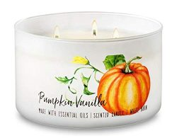 Bath and Body Works Pumpkin Vanilla – Large 14.5 Ounce 3-Wick Low Profile Candle – P ...