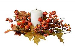 Ten Waterloo 12 Inch Fall and Thanksgiving Maple Leaf Candle Ring with Berries on Hand Tied Base ...
