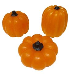 Luminessence Pumpkin Shaped Candles Fall Autumn Party Decorations, Set of 3