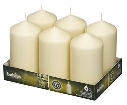 BOLSIUS 3×6 Set of 6 Ivory Wedding Party Pillar Candles Aprox 3×6 inches